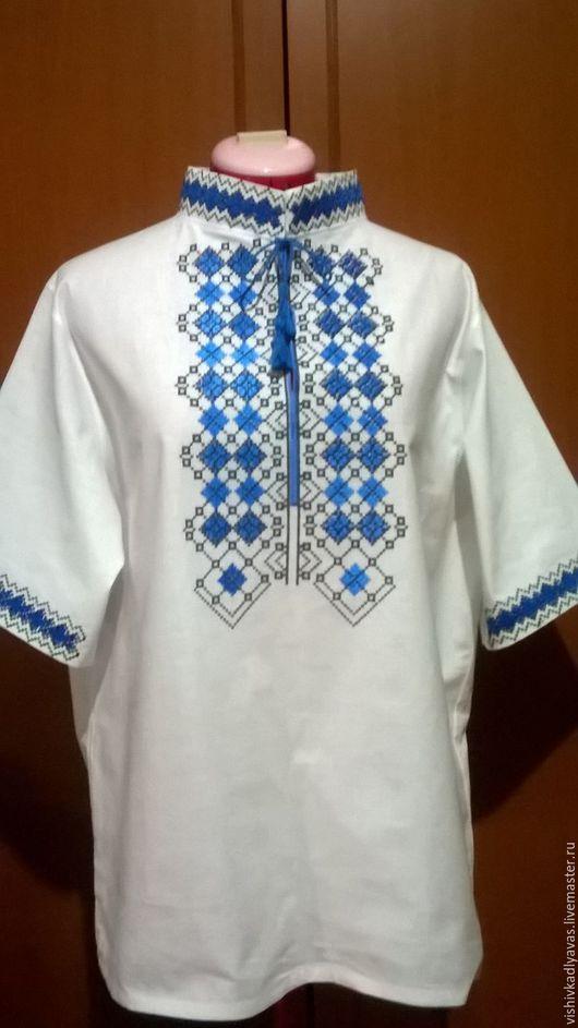 Для мужчин, ручной работы. Ярмарка Мастеров - ручная работа. Купить Мужская вышитая рубашка МР3-035. Handmade. Белый
