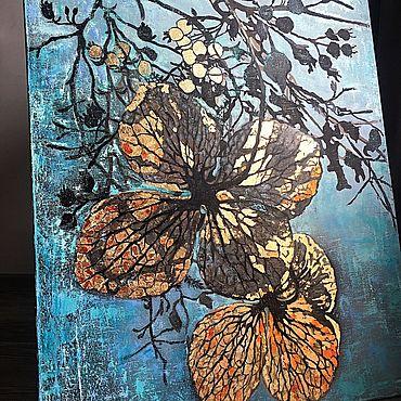 Картины и панно ручной работы. Ярмарка Мастеров - ручная работа MINT & GOLD, 100/80 cm, в наличии. Handmade.