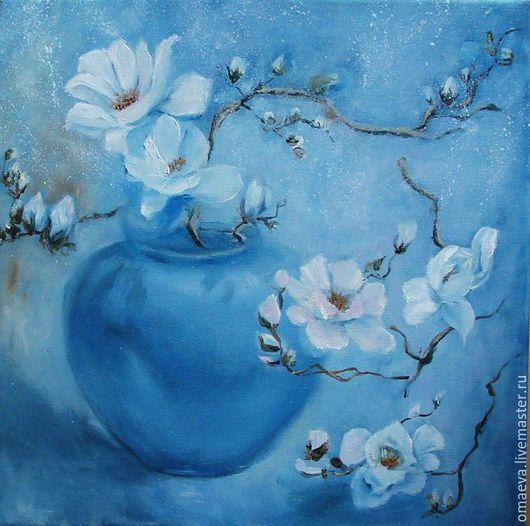 Картины цветов ручной работы. Ярмарка Мастеров - ручная работа. Купить Картина  Голубые цветы нежности. Handmade. Голубой