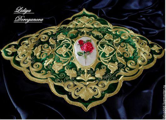 """Текстиль, ковры ручной работы. Ярмарка Мастеров - ручная работа. Купить Скатерть """"Лукреция"""" золотное шитье. Handmade. Зеленый, бархат"""