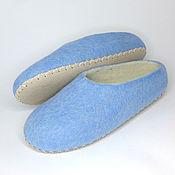 Тапочки ручной работы. Ярмарка Мастеров - ручная работа Тапочки женские валяные голубые на подошве. Handmade.