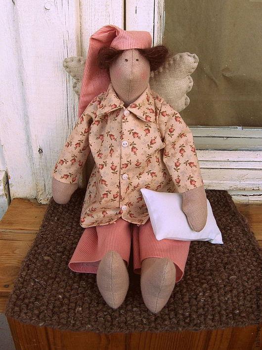 Куклы Тильды ручной работы. Ярмарка Мастеров - ручная работа. Купить Сонный ангел. Handmade. Коралловый, полоска, сплюшка