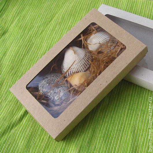 Упаковка ручной работы. Ярмарка Мастеров - ручная работа. Купить Коробка плоская с окошком. Handmade. Бежевый, коробочка, упаковка для украшений