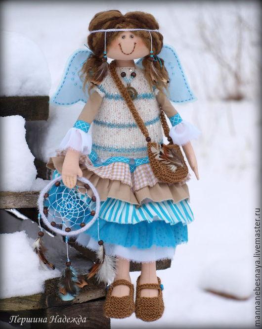 Коллекционные куклы ручной работы. Ярмарка Мастеров - ручная работа. Купить Зимняя девочка. Лоскутик бирюзового неба. Коллекционная кукла.. Handmade.