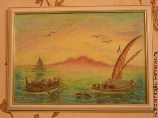 Неаполитанская Ривьера. Морской пейзаж ручной работы. Написан после путешествия по солнечной Италии.