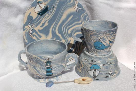 Сервизы, чайные пары ручной работы. Ярмарка Мастеров - ручная работа. Купить Набор посуды Морской. Handmade. Голубой, чашка