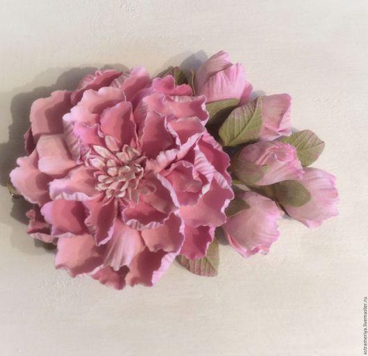 Заколки ручной работы. Ярмарка Мастеров - ручная работа. Купить Заколка для волос Розовый пион из полимерной глины. Handmade.