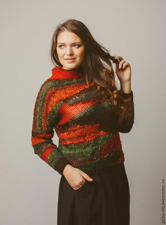 """Кофты и свитера ручной работы. Ярмарка Мастеров - ручная работа. Купить Джемпер """"Рыжая осень"""". Handmade. Рыжий, ручное прядение"""