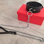 Субкультуры handmade. Livemaster - original item collar: Black leather BDSM collar with leash. Handmade.