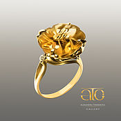 Украшения handmade. Livemaster - original item Gold ring with carved citrine and CZ. 585.. Handmade.