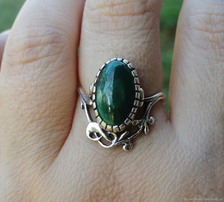 Silver ring with malachite (17,5), Ring, Kiev,  Фото №1