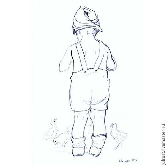 Люди, ручной работы. Ярмарка Мастеров - ручная работа. Купить Картина Ровесники, рисунок карандашом графика серый белый. Handmade.