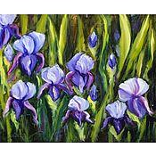 Картины и панно handmade. Livemaster - original item Oil painting flowers Wild Irises Landscape with flowers. Handmade.