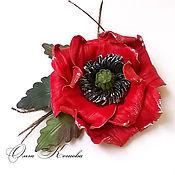 Украшения handmade. Livemaster - original item leather flowers, red poppies decoration leather flower brooch. Handmade.