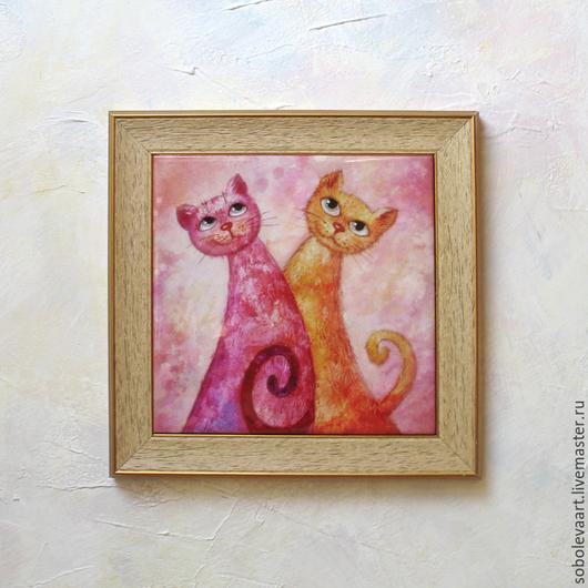 Животные ручной работы. Ярмарка Мастеров - ручная работа. Купить Картина кот и кошка, влюбленная пара, акварель, авторская печать. Handmade.