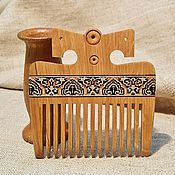 Украшения handmade. Livemaster - original item Russian wooden comb oak with naturel wooden inlay mosaic. Handmade.