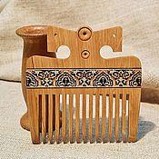 Сувениры и подарки handmade. Livemaster - original item Russian wooden comb oak with naturel wooden inlay mosaic. Handmade.
