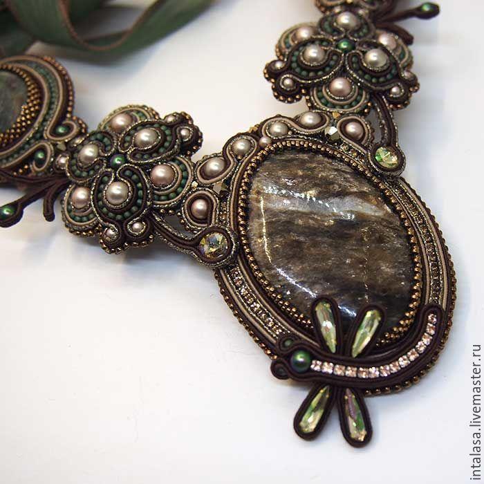 Soutache necklace with kodicom and green aventurine