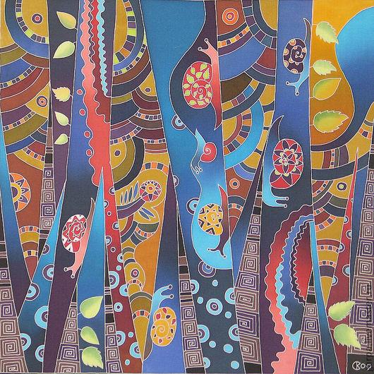 """Фантазийные сюжеты ручной работы. Ярмарка Мастеров - ручная работа. Купить """"Лес, населенный улитками"""". Handmade. Тёмно-синий"""