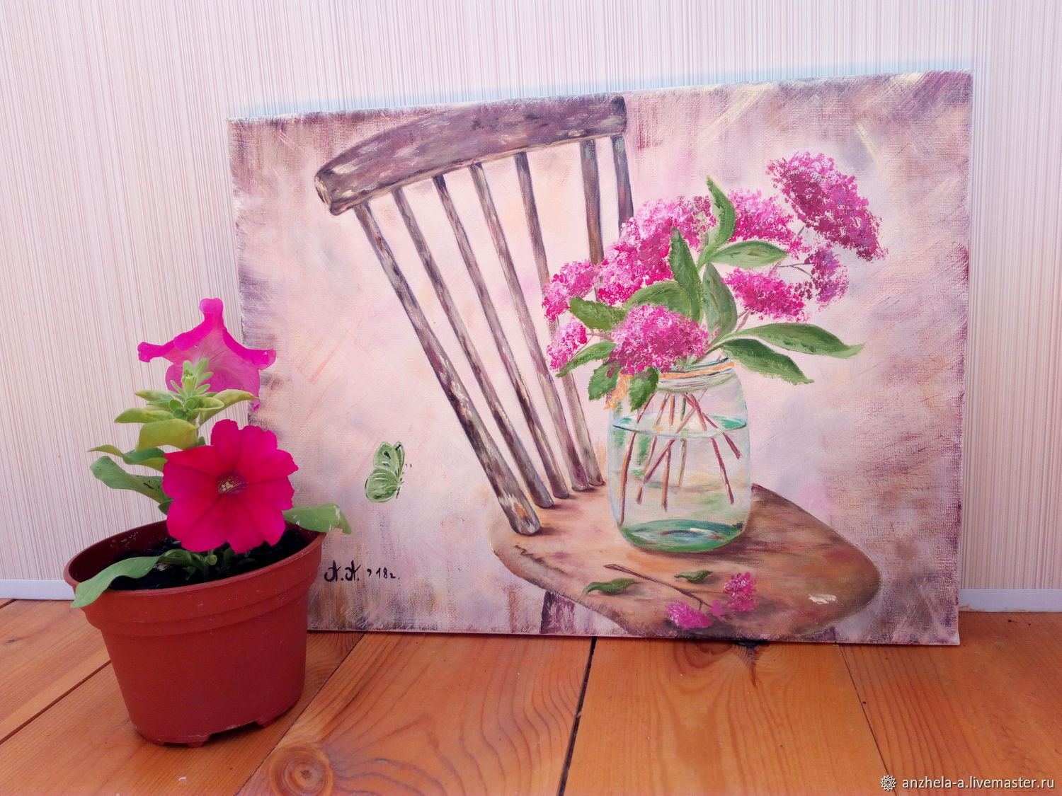 The painting 'Summer bouquet with butterfly' oil on canvas 30/40, Pictures, Moscow,  Фото №1