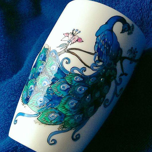 """Кружки и чашки ручной работы. Ярмарка Мастеров - ручная работа. Купить Чашка """"Павлин"""" (0818). Handmade. Павлин, фарфор"""