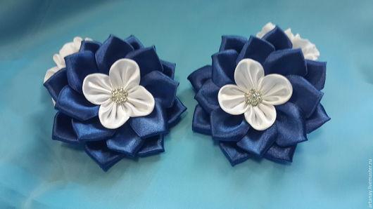 Заколки ручной работы. Ярмарка Мастеров - ручная работа. Купить резинка  для волос Синие цветы. Handmade. Комбинированный, резинка из лент