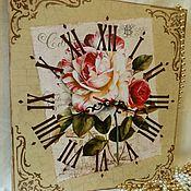 Для дома и интерьера handmade. Livemaster - original item Wall clock Vintage rose. Handmade.