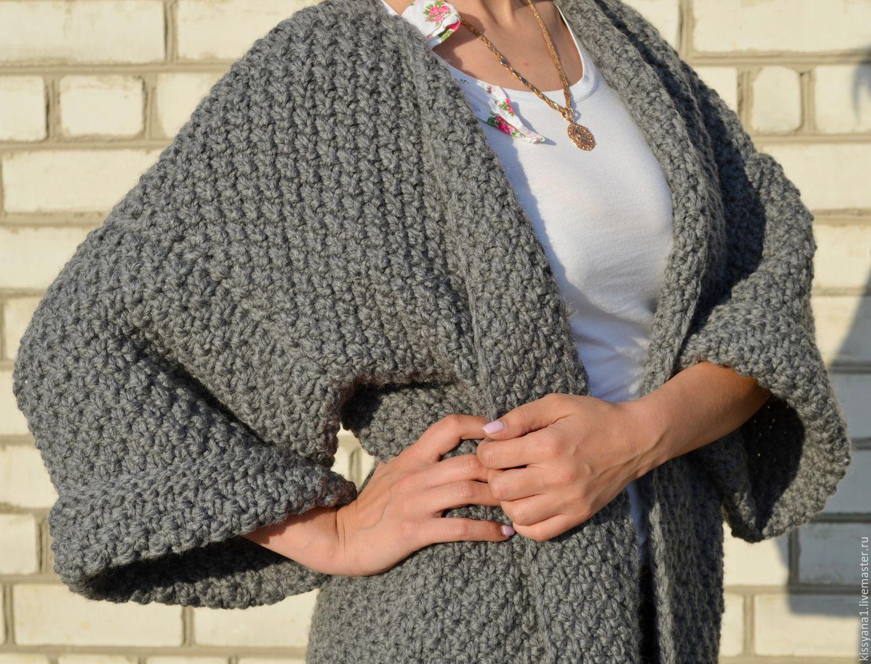 вязание свитера крючком, вязание свитера из трикотажной пряжи