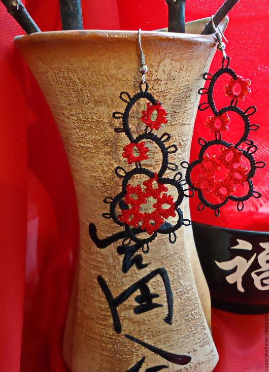 """Серьги ручной работы. Ярмарка Мастеров - ручная работа. Купить серьги """"Сакура"""". Handmade. Черный, красный цвет, авторские серьги"""