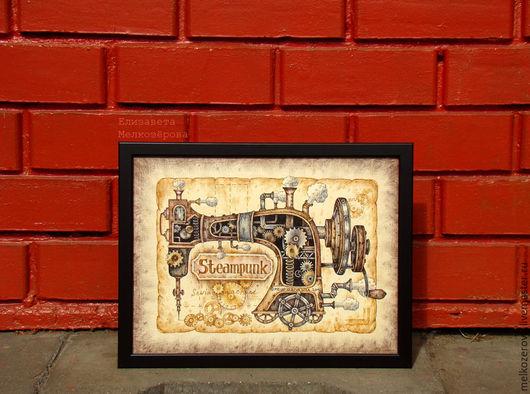"""Фантазийные сюжеты ручной работы. Ярмарка Мастеров - ручная работа. Купить Картина в раме """"Стимпанк Швейная машинка"""" ретро коричневый лофт. Handmade."""