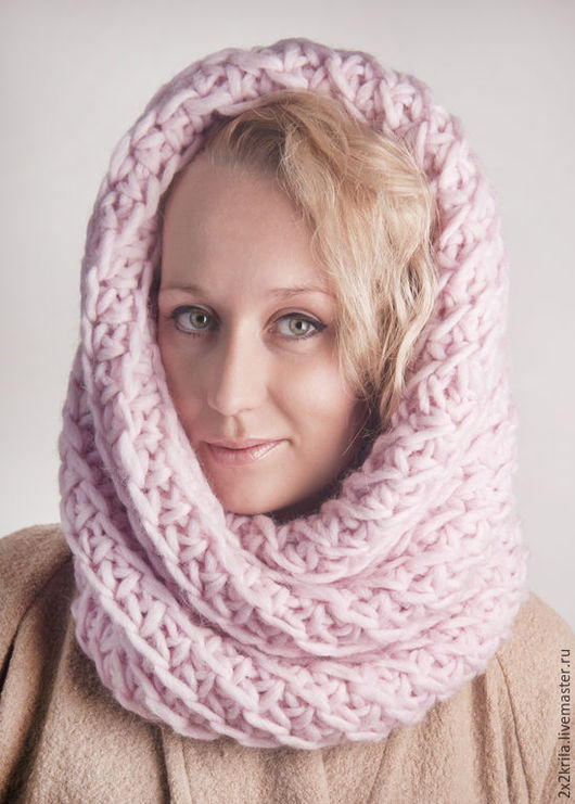 Шапки ручной работы. Ярмарка Мастеров - ручная работа. Купить Снуд-капюшон «Французский розовый». Handmade. Розовый цвет, шапка