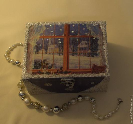 """Шкатулки ручной работы. Ярмарка Мастеров - ручная работа. Купить Шкатулка   """"Зима за окном """". Handmade. Тёмно-синий"""