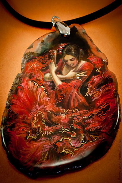 """Кулоны, подвески ручной работы. Ярмарка Мастеров - ручная работа. Купить Кулон большой  """"Фламенко"""". Handmade. Камень, женщина"""