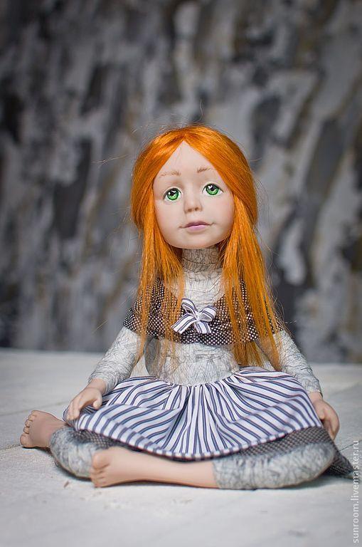 Коллекционные куклы ручной работы. Ярмарка Мастеров - ручная работа. Купить Марта. Handmade. Кукла, оранжевый, темно-серый