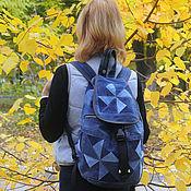 Сумки и аксессуары handmade. Livemaster - original item Backpack denim Triangle II. Handmade.