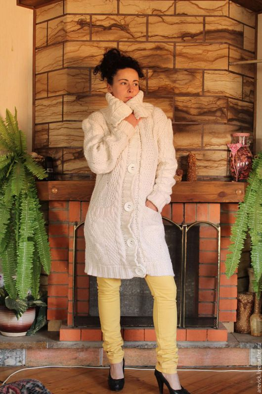 """Кофты и свитера ручной работы. Ярмарка Мастеров - ручная работа. Купить Кардиган с аранами """"Белые ночи"""". Handmade. Белый, араны"""