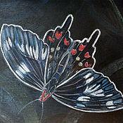 """Картины и панно ручной работы. Ярмарка Мастеров - ручная работа Картина пастелью """"Бабочка на черном"""". Handmade."""