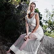 Одежда ручной работы. Ярмарка Мастеров - ручная работа Белое валяное платье в пол с сеткой. Handmade.