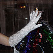 """Аксессуары ручной работы. Ярмарка Мастеров - ручная работа Перчатки длинные """"Пуховый гламур"""". Handmade."""