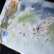 """Картины и панно ручной работы. Ярмарка Мастеров - ручная работа Картина акварелью """"Бабочка на нежных первоцветах"""". Handmade."""