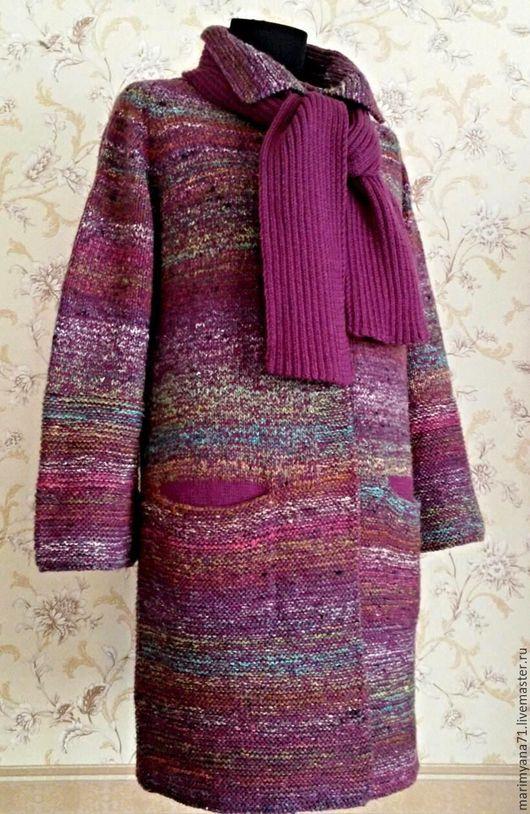 """Верхняя одежда ручной работы. Ярмарка Мастеров - ручная работа. Купить Пальто с шарфом """"Бэлла"""". Handmade. Бордовый, секционное крашение"""