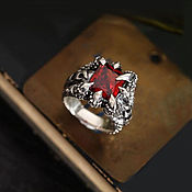 Украшения handmade. Livemaster - original item A ring of silver 925 with red claws and zircon. Handmade.