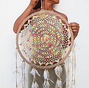 """Для дома и интерьера ручной работы. Ярмарка Мастеров - ручная работа Кружевной """"Ловец Снов"""" разноцветный. Handmade."""