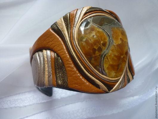 Браслеты ручной работы. Ярмарка Мастеров - ручная работа. Купить браслет с симбирцитом. Handmade. Браслет с камнями, натуральная кожа