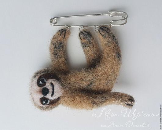 Броши ручной работы. Ярмарка Мастеров - ручная работа. Купить Подвеска Ленивец. Handmade. Бежевый, ленивец, подвеска, брошка, брошь
