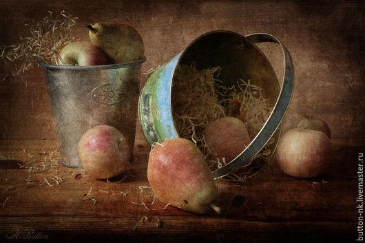 Фотокартины ручной работы. Ярмарка Мастеров - ручная работа. Купить Натюрморт фото, картина Осень в ведерках. Handmade. Рыжий, яблоки