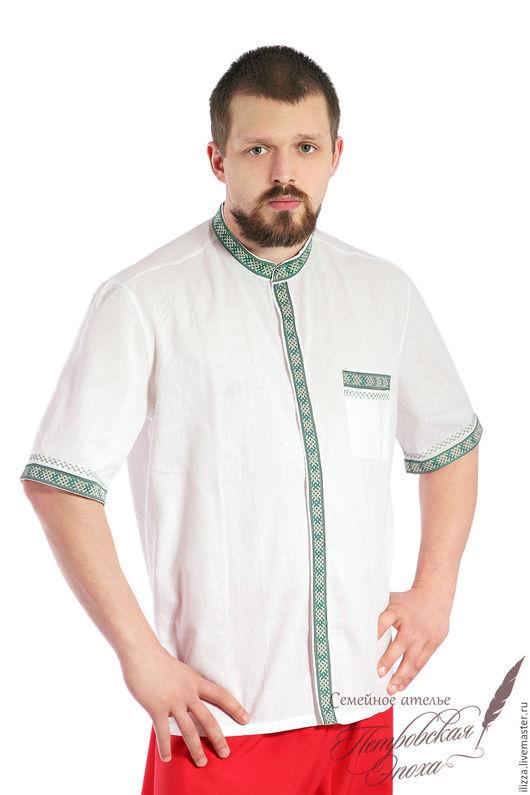 Для мужчин, ручной работы. Ярмарка Мастеров - ручная работа. Купить летняя рубашка в русском стиле 3. Handmade. Белый