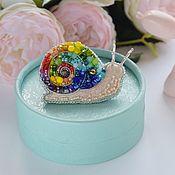 handmade. Livemaster - original item Super snail brooch for wonder woman.Embroidered Rainbow Snail Brooch. Handmade.