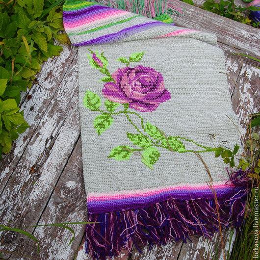 """Текстиль, ковры ручной работы. Ярмарка Мастеров - ручная работа. Купить Коврик в стиле шебби шик """"Сиреневые розы"""". Handmade."""