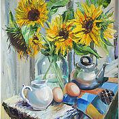 Картины и панно handmade. Livemaster - original item Oil painting. Sunflowers. rustic still life.. Handmade.